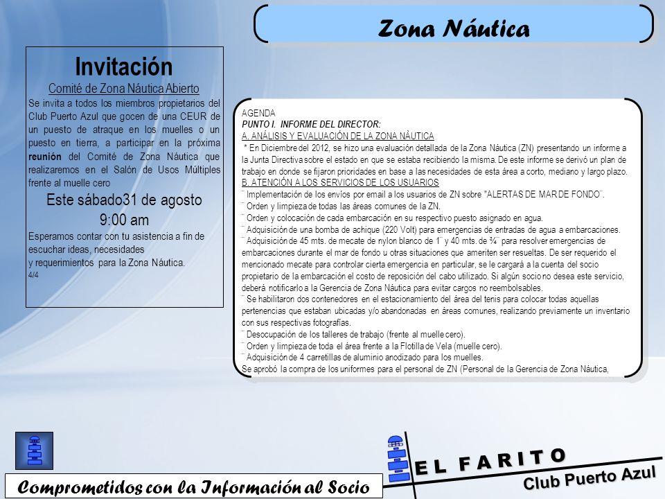 Zona Náutica Invitación Comprometidos con la Información al Socio