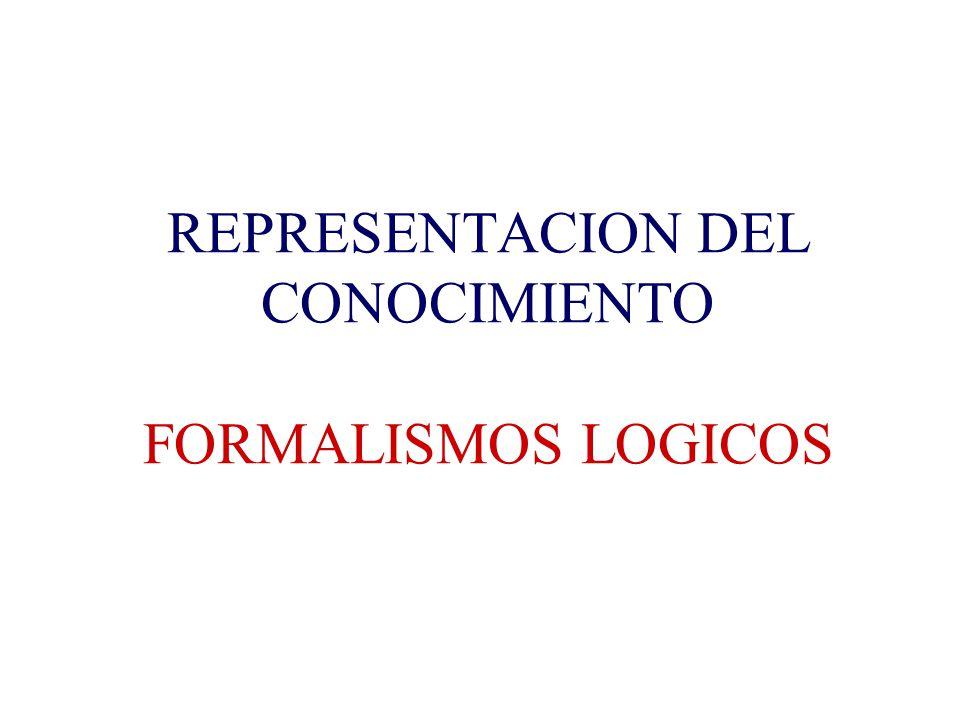 REPRESENTACION DEL CONOCIMIENTO FORMALISMOS LOGICOS
