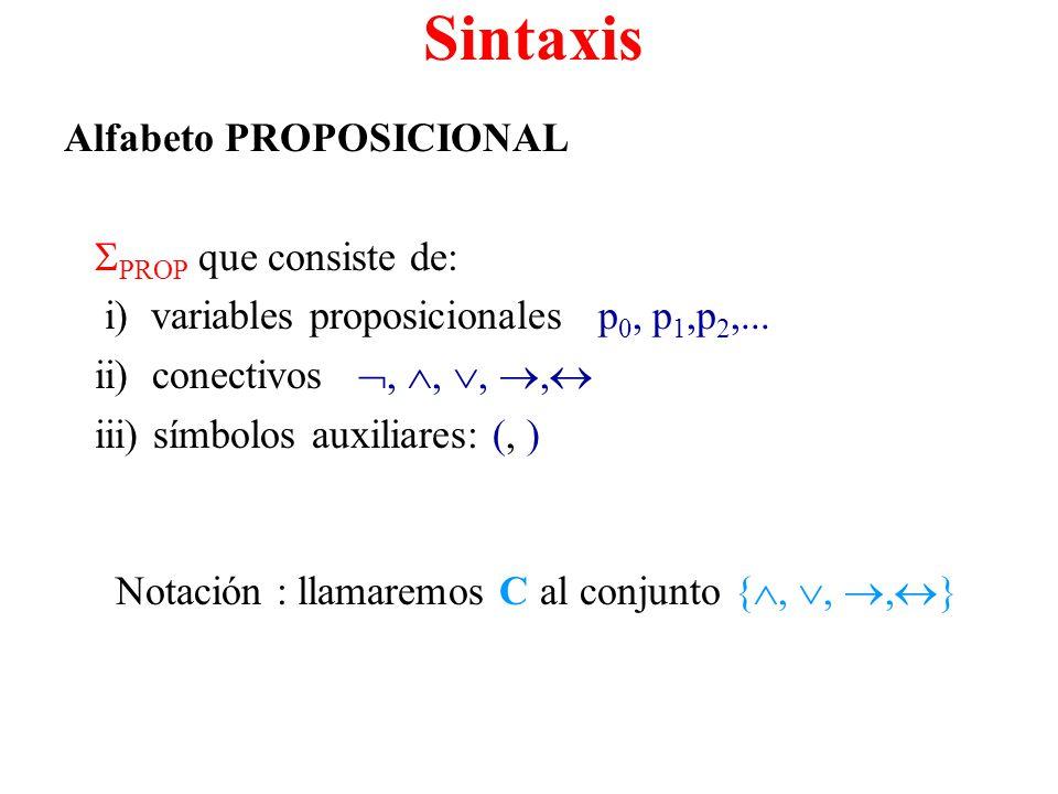 Sintaxis Alfabeto PROPOSICIONAL PROP que consiste de:
