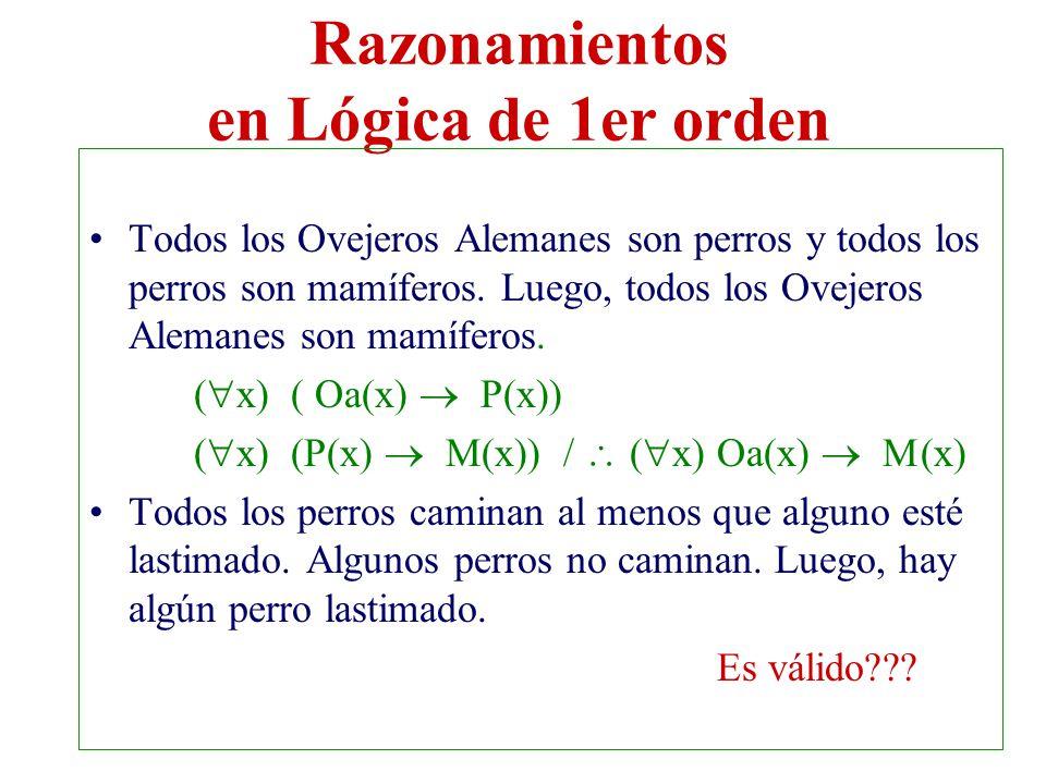 Razonamientos en Lógica de 1er orden