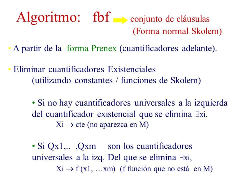 Algoritmo: fbf conjunto de cláusulas (Forma normal Skolem)