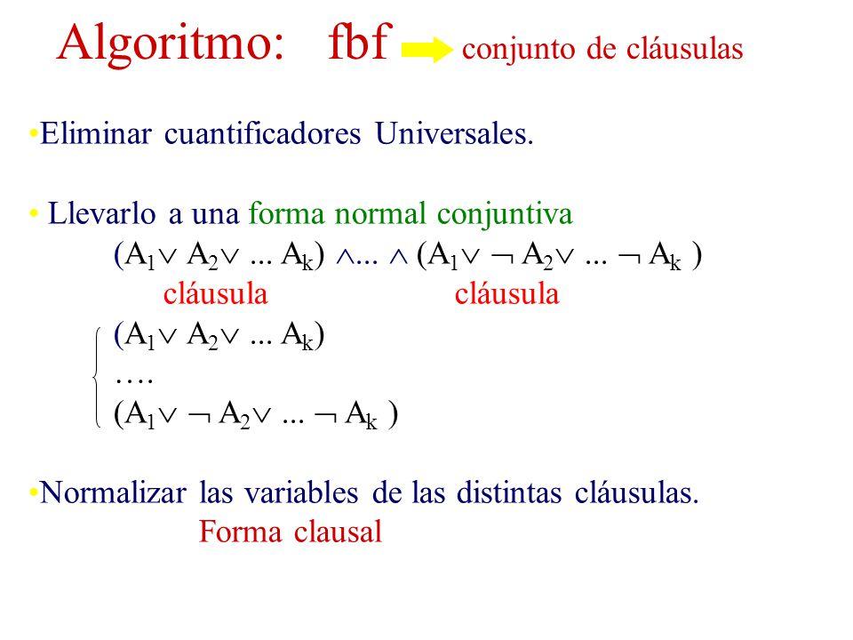 Algoritmo: fbf conjunto de cláusulas