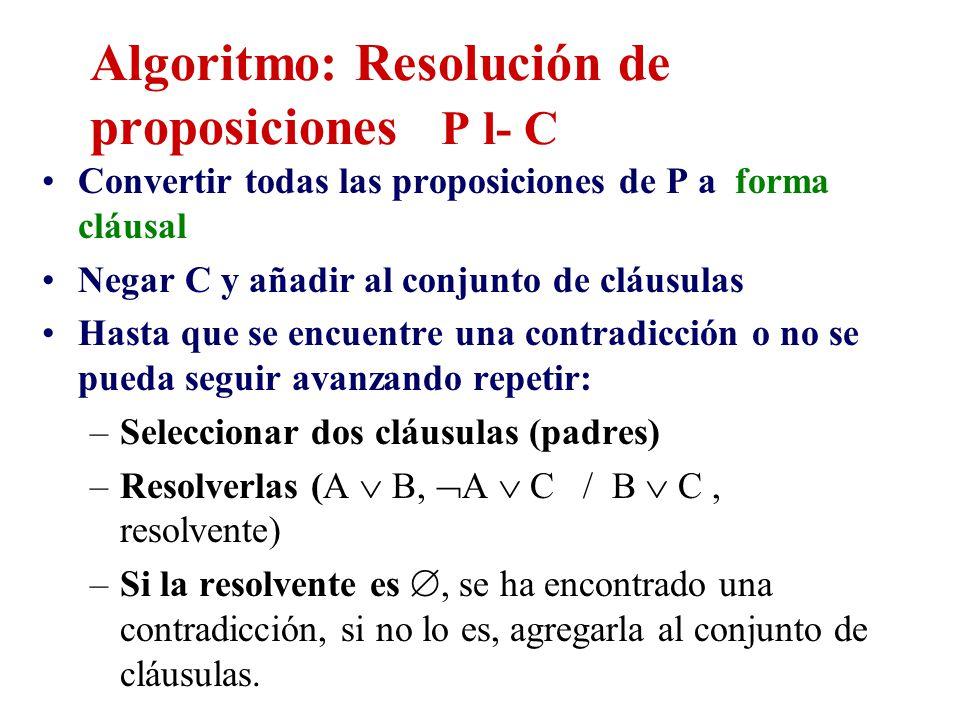 Algoritmo: Resolución de proposiciones P l- C