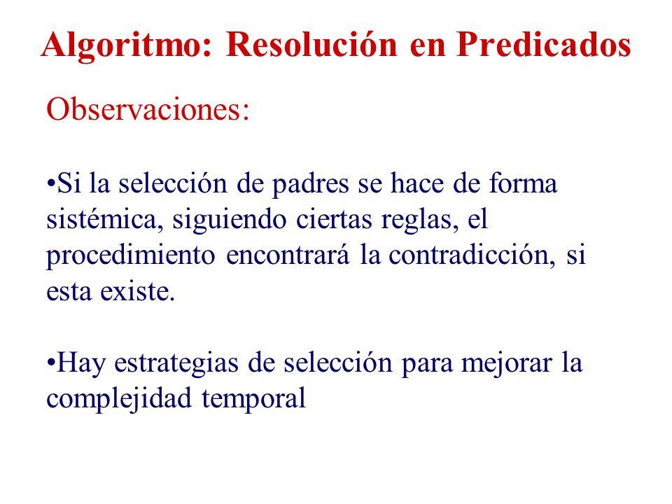Algoritmo: Resolución en Predicados