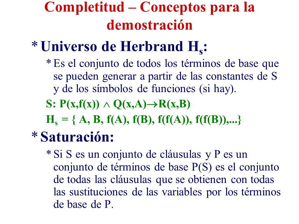Completitud – Conceptos para la demostración