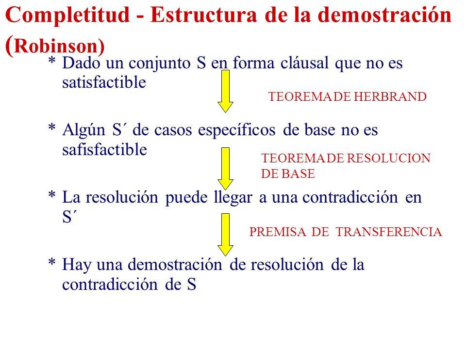 Completitud - Estructura de la demostración (Robinson)