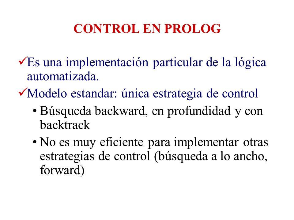 CONTROL EN PROLOG Es una implementación particular de la lógica automatizada. Modelo estandar: única estrategia de control.
