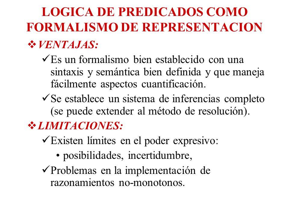LOGICA DE PREDICADOS COMO FORMALISMO DE REPRESENTACION