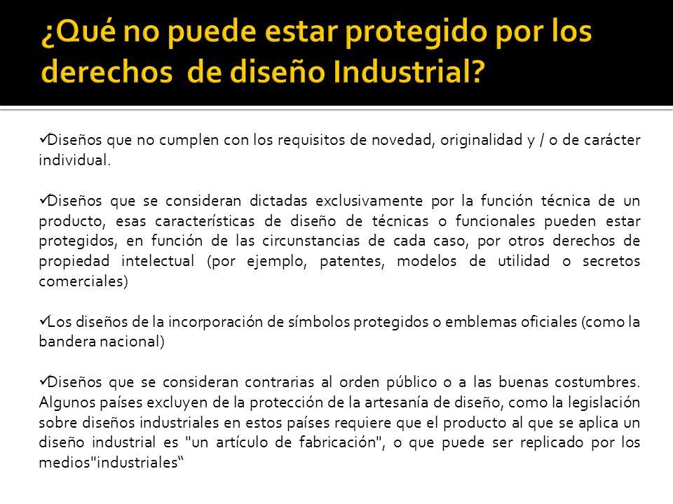 ¿Qué no puede estar protegido por los derechos de diseño Industrial