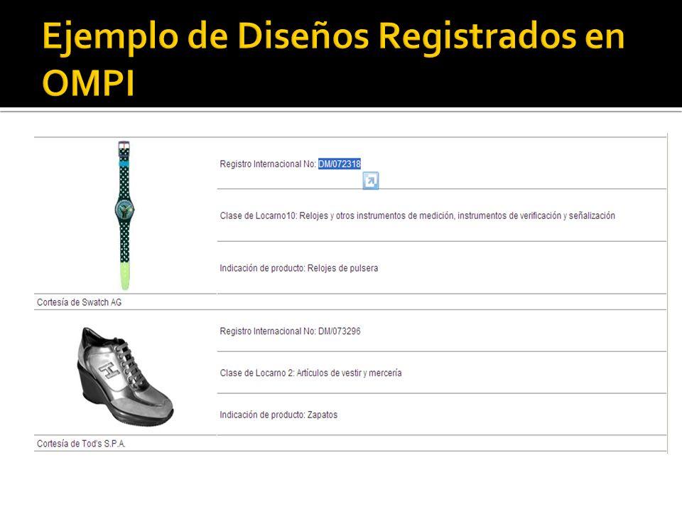 Ejemplo de Diseños Registrados en OMPI