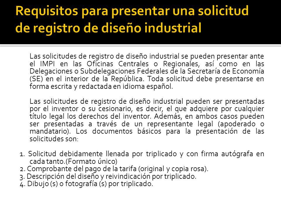 Requisitos para presentar una solicitud de registro de diseño industrial