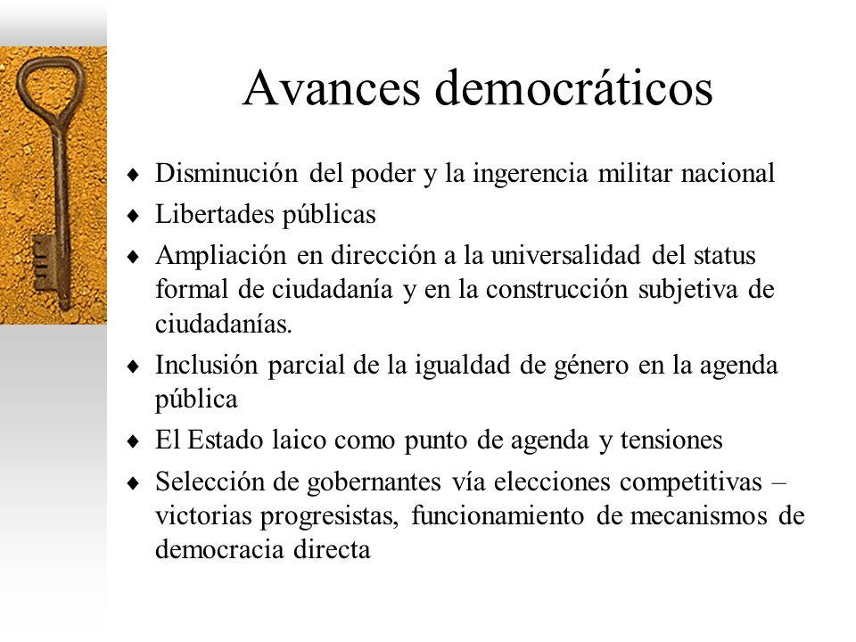 Avances democráticos Disminución del poder y la ingerencia militar nacional. Libertades públicas.