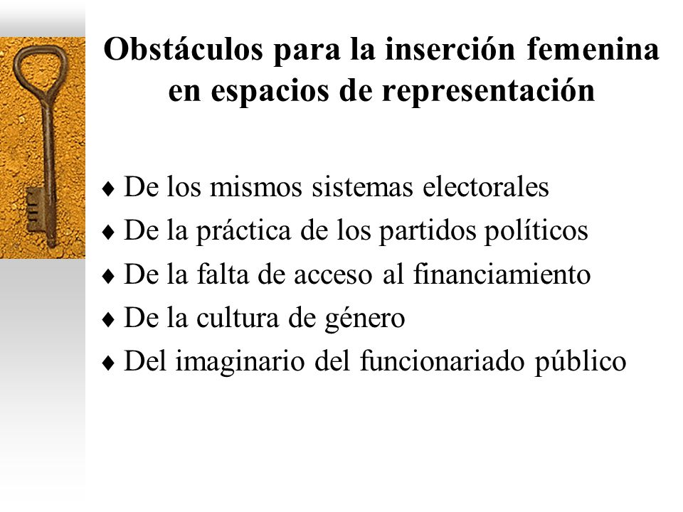 Obstáculos para la inserción femenina en espacios de representación