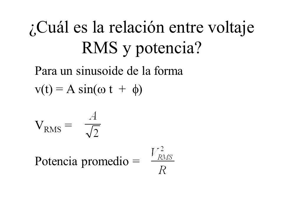 ¿Cuál es la relación entre voltaje RMS y potencia