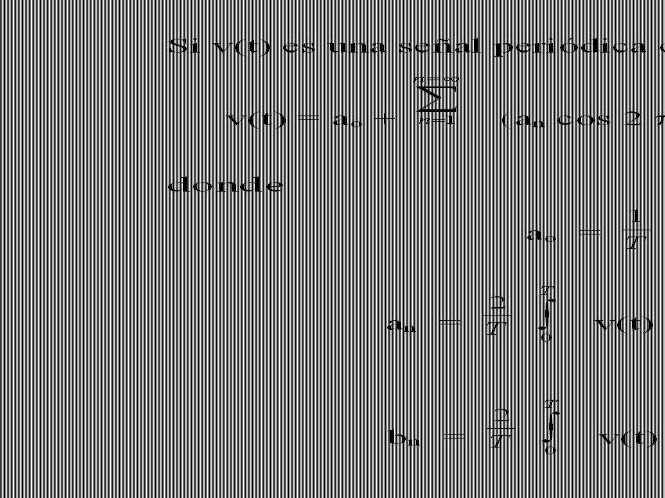 Se define la serie de Fourier para una señal periódica y se incluyen las fórmulas para calcular los coeficientes en dicha expansión.