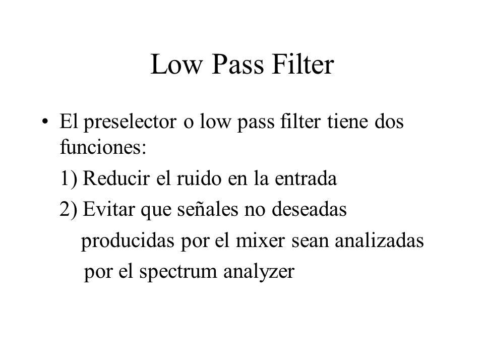 Low Pass Filter El preselector o low pass filter tiene dos funciones: