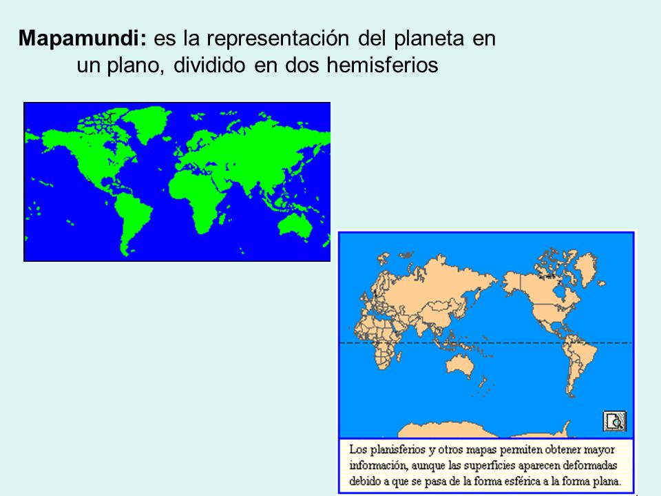 Mapamundi: es la representación del planeta en un plano, dividido en dos hemisferios