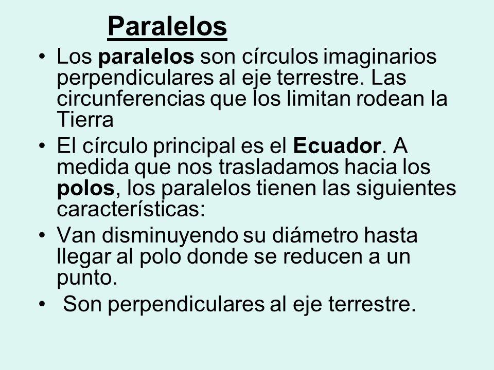 Paralelos Los paralelos son círculos imaginarios perpendiculares al eje terrestre. Las circunferencias que los limitan rodean la Tierra.