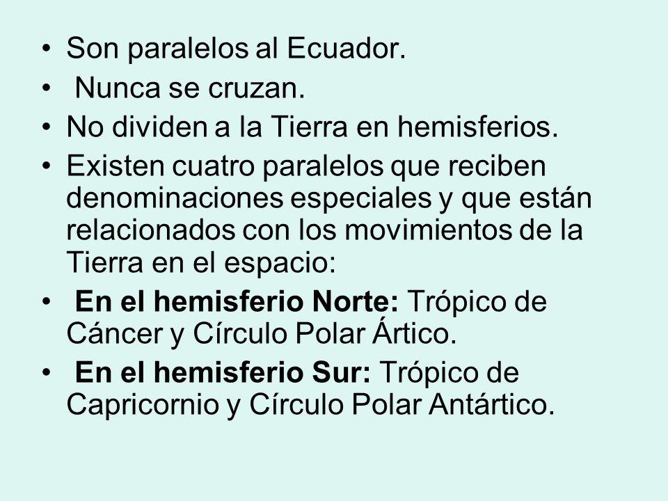 Son paralelos al Ecuador.