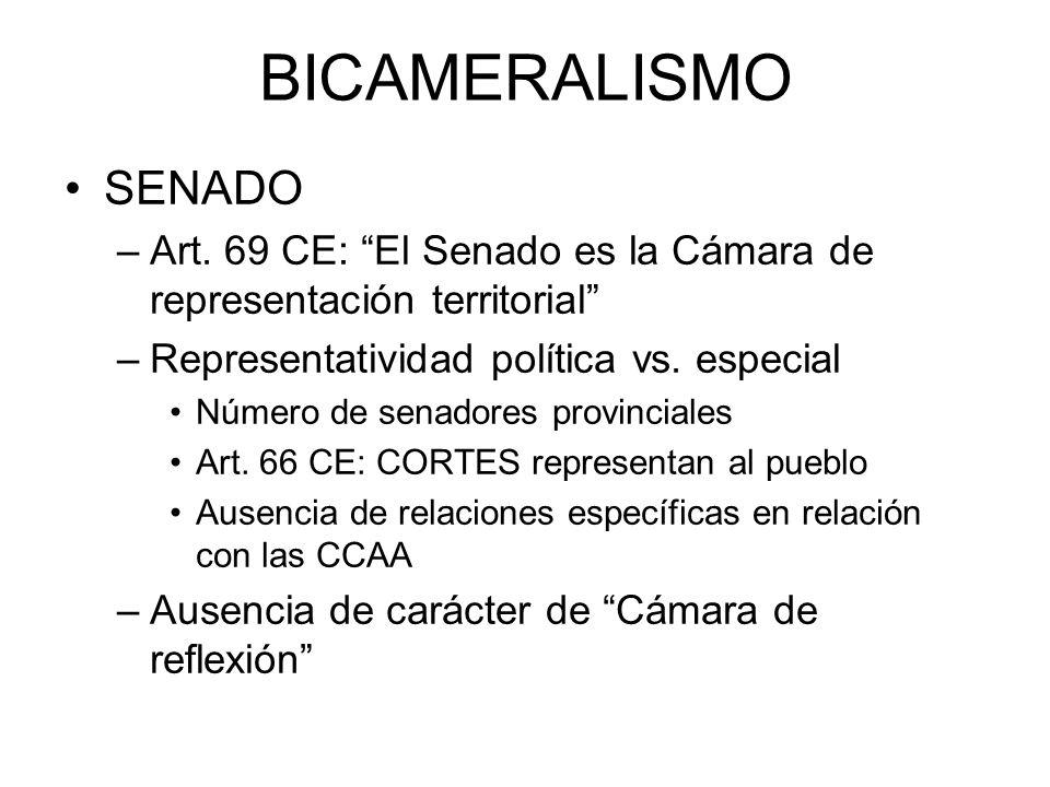 BICAMERALISMO SENADO. Art. 69 CE: El Senado es la Cámara de representación territorial Representatividad política vs. especial.