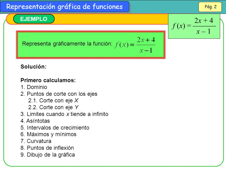 2x + 4 x – 1 f (x) =  EJEMPLO Representa gráficamente la función: