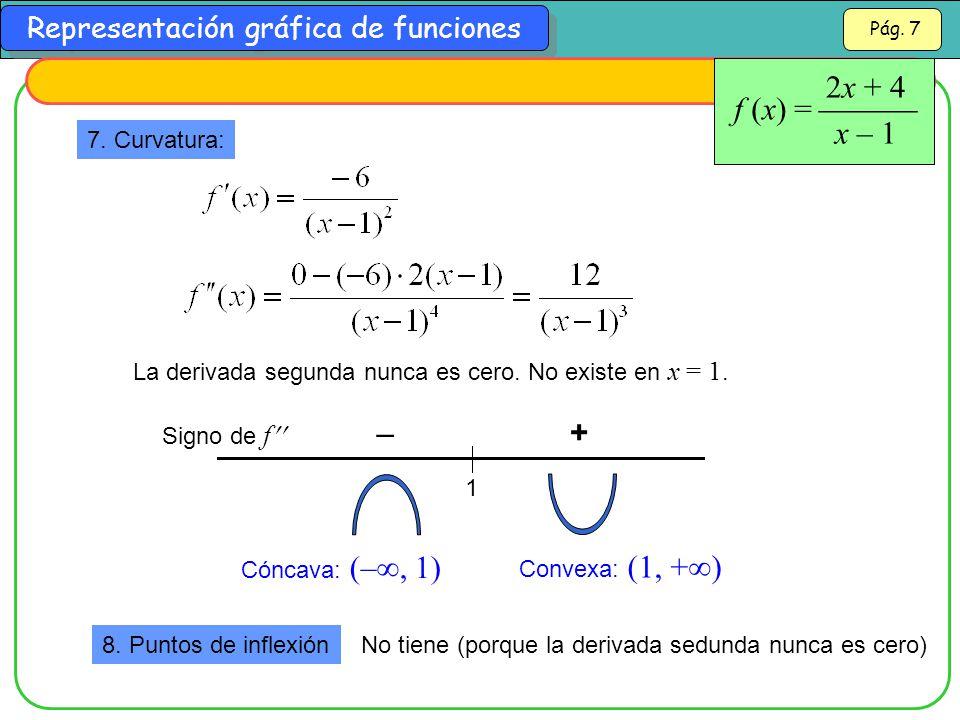 2x + 4 x – 1 f (x) =  – + 7. Curvatura: