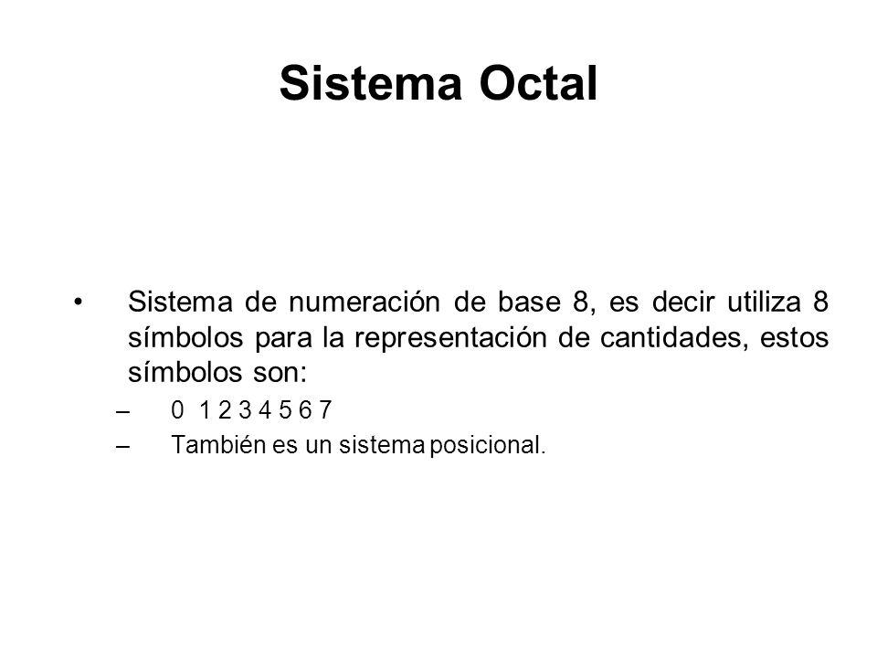 Sistema Octal Sistema de numeración de base 8, es decir utiliza 8 símbolos para la representación de cantidades, estos símbolos son: