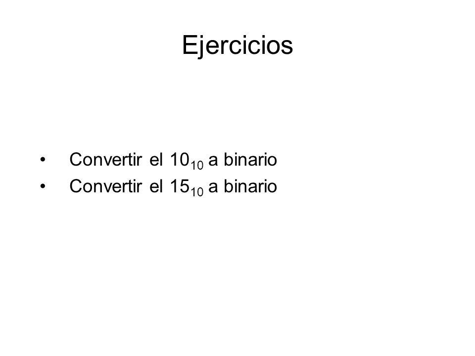 Ejercicios Convertir el 1010 a binario Convertir el 1510 a binario