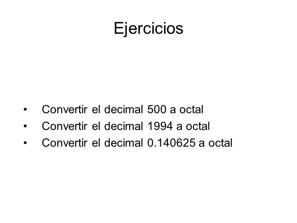 Ejercicios Convertir el decimal 500 a octal
