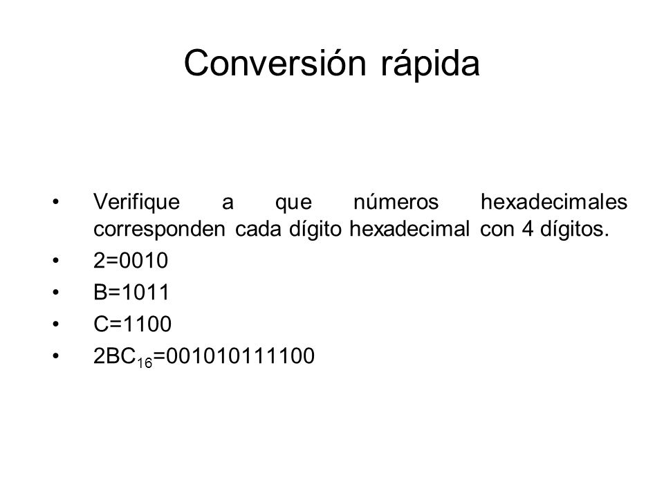 Conversión rápida Verifique a que números hexadecimales corresponden cada dígito hexadecimal con 4 dígitos.