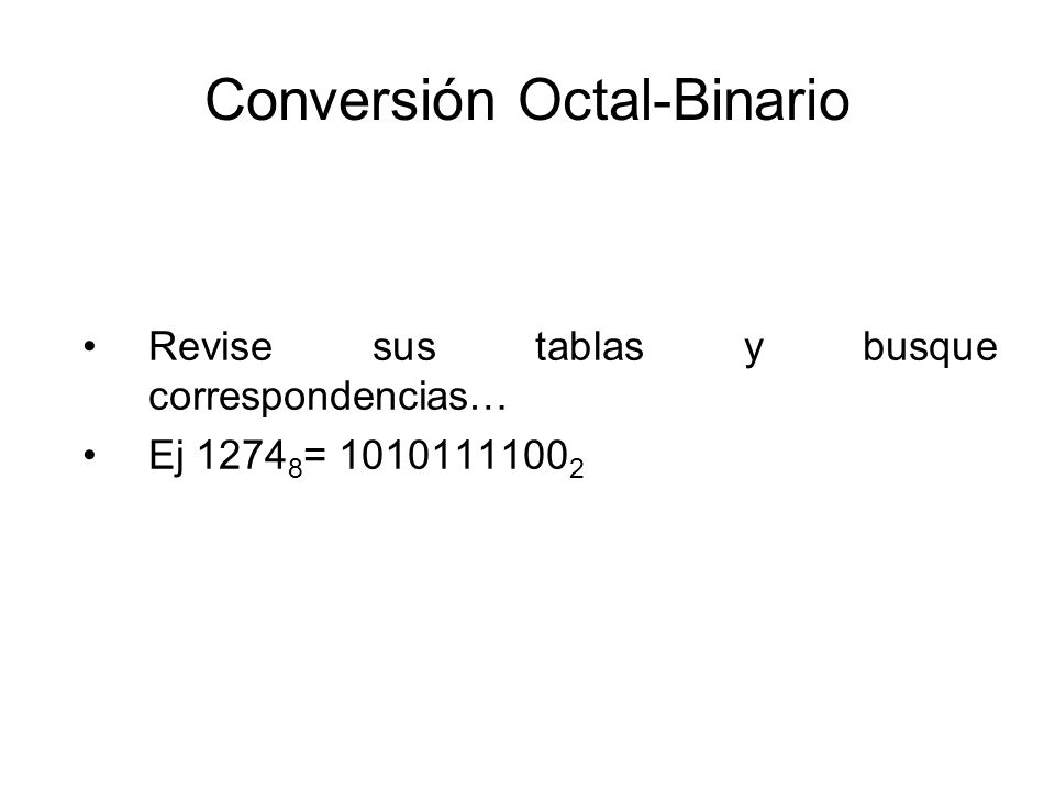 Conversión Octal-Binario