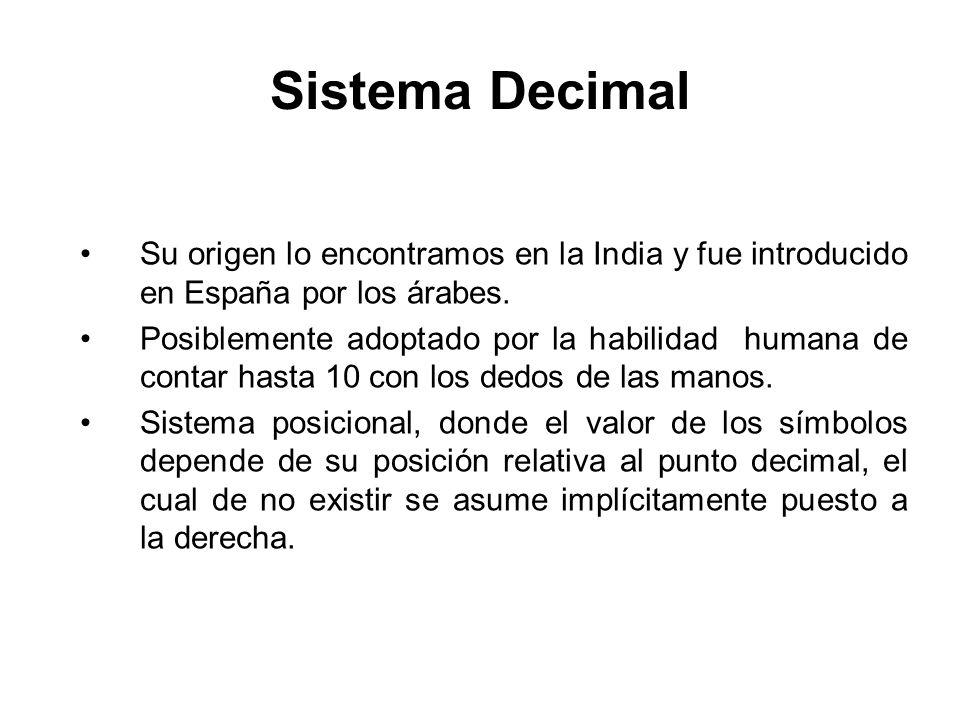 Sistema Decimal Su origen lo encontramos en la India y fue introducido en España por los árabes.