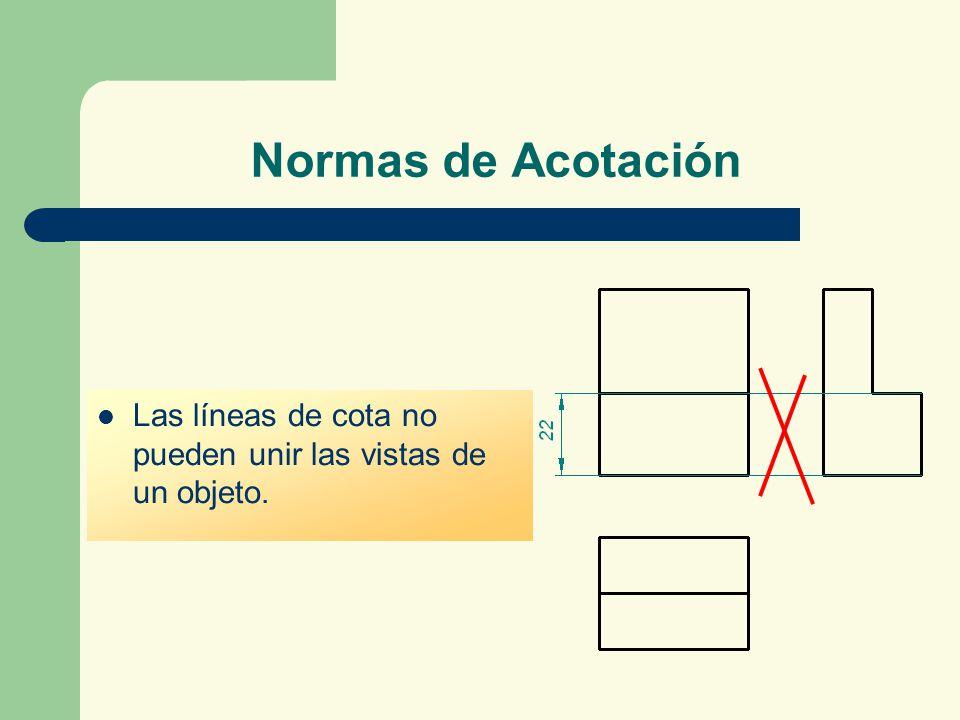 Normas de Acotación Las líneas de cota no pueden unir las vistas de un objeto.