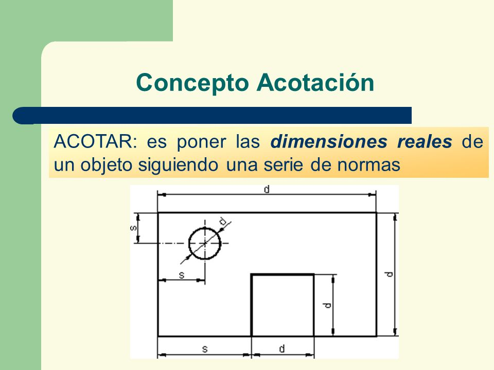 Concepto Acotación ACOTAR: es poner las dimensiones reales de un objeto siguiendo una serie de normas.
