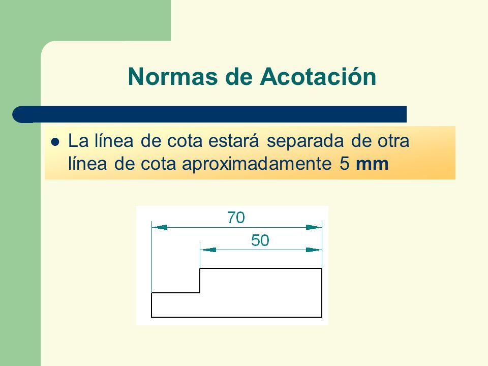 Normas de Acotación La línea de cota estará separada de otra línea de cota aproximadamente 5 mm