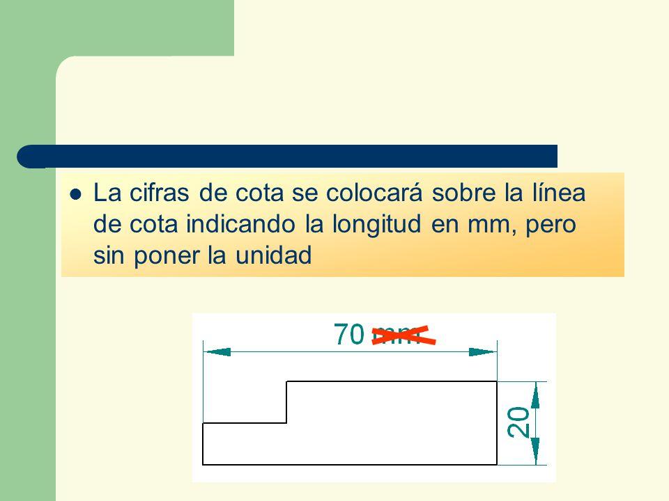 La cifras de cota se colocará sobre la línea de cota indicando la longitud en mm, pero sin poner la unidad