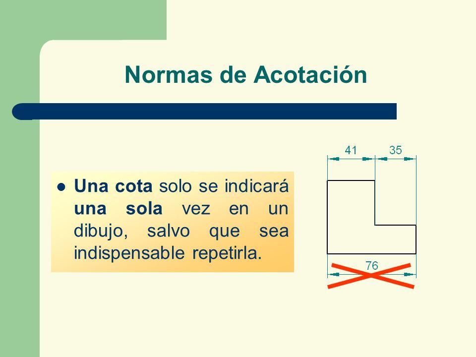 Normas de Acotación Una cota solo se indicará una sola vez en un dibujo, salvo que sea indispensable repetirla.