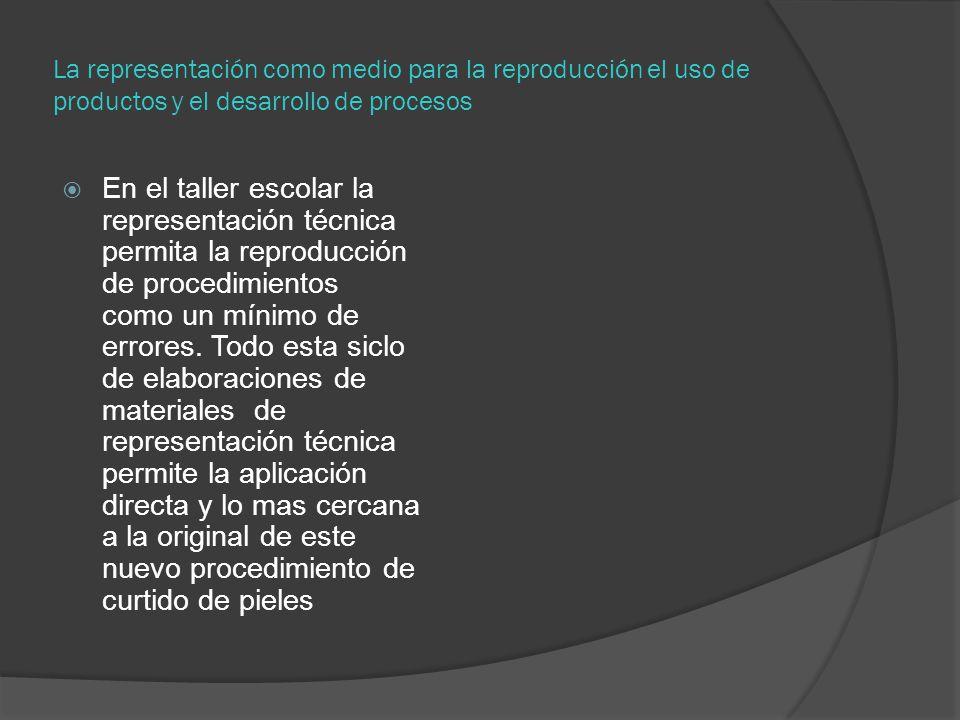 La representación como medio para la reproducción el uso de productos y el desarrollo de procesos