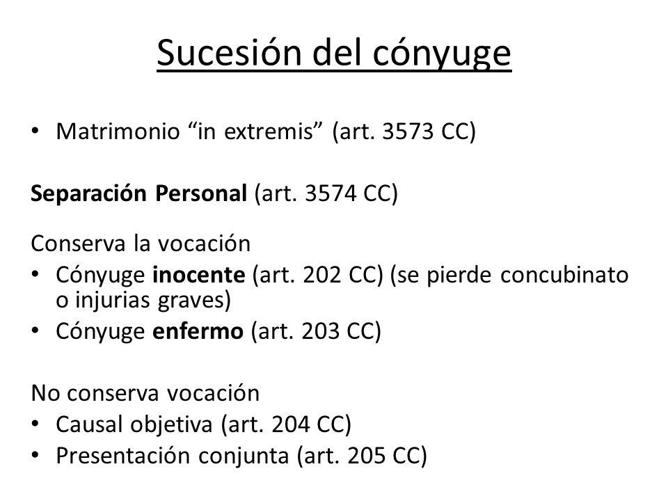 Sucesión del cónyuge Matrimonio in extremis (art. 3573 CC)