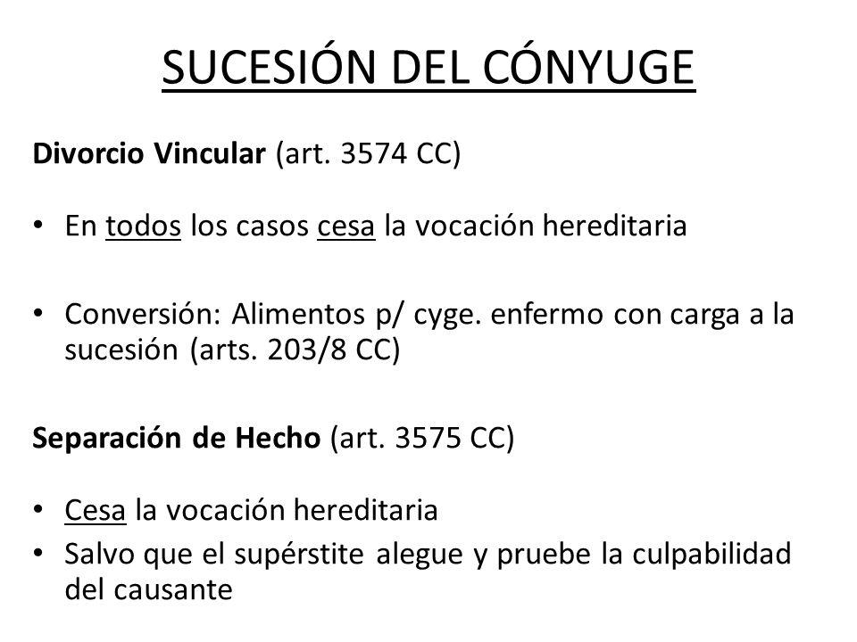 SUCESIÓN DEL CÓNYUGE Divorcio Vincular (art. 3574 CC)