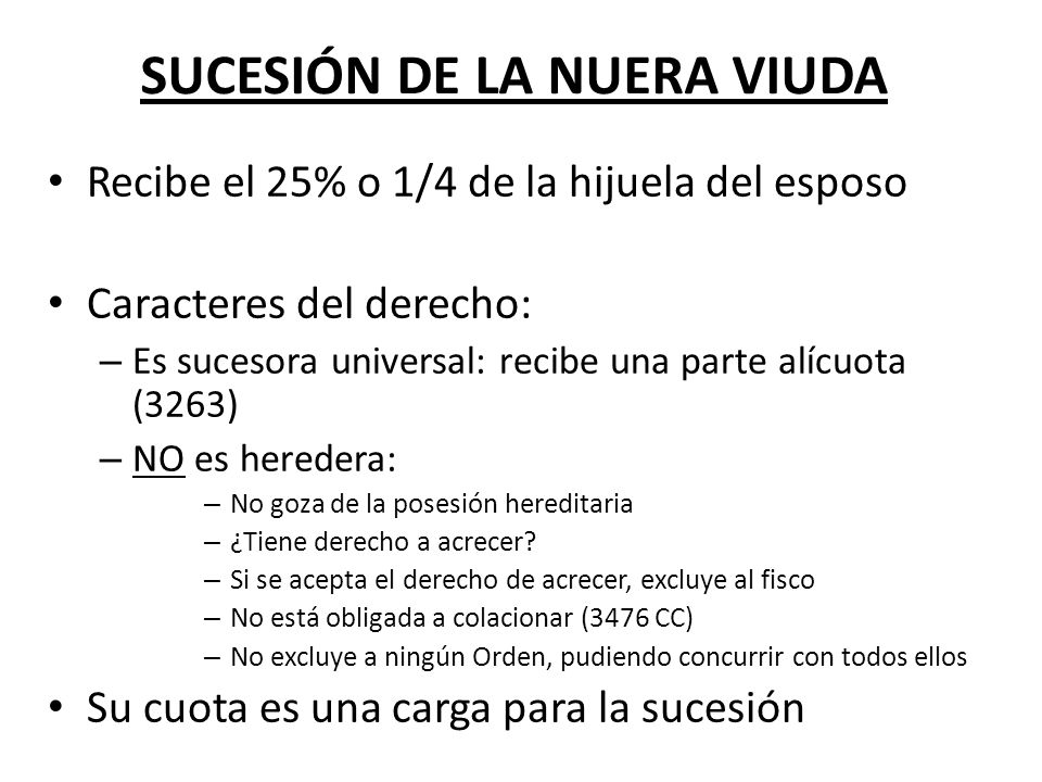 SUCESIÓN DE LA NUERA VIUDA
