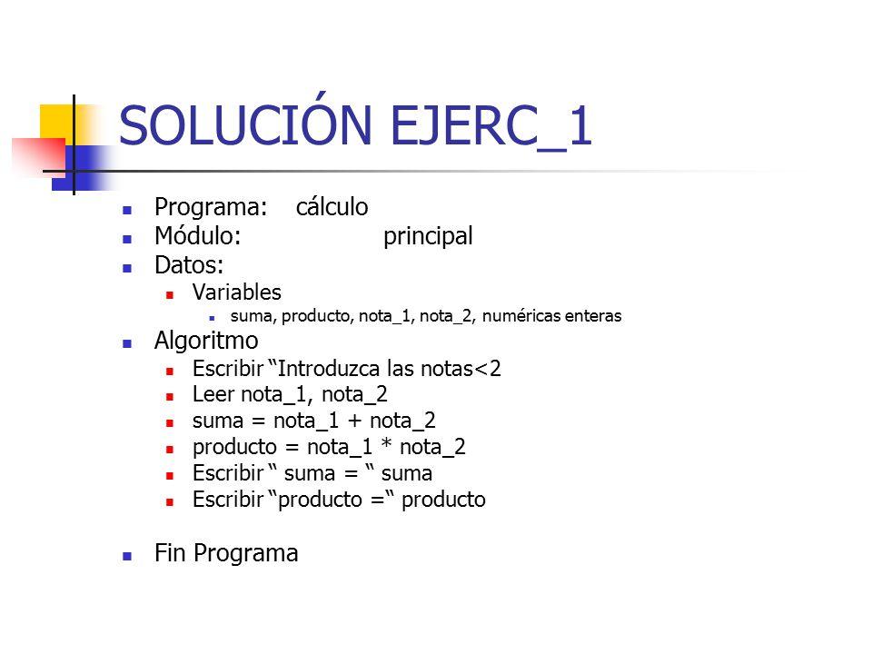 SOLUCIÓN EJERC_1 Programa: cálculo Módulo: principal Datos: Algoritmo
