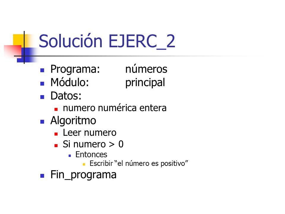 Solución EJERC_2 Programa: números Módulo: principal Datos: Algoritmo