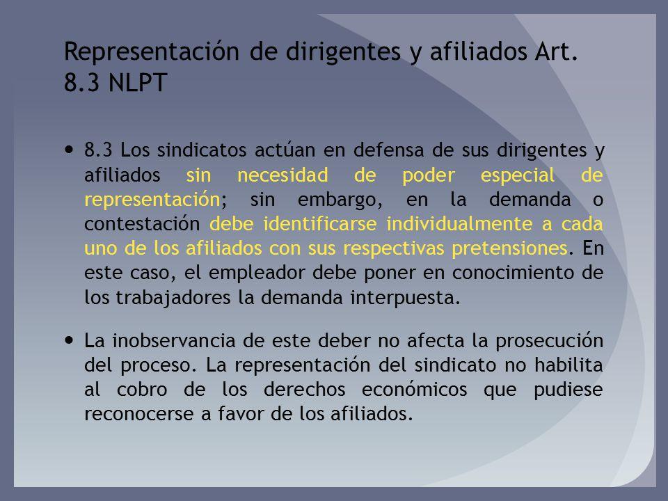 Representación de dirigentes y afiliados Art. 8.3 NLPT