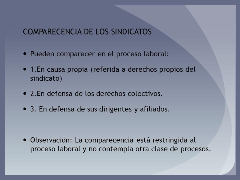 COMPARECENCIA DE LOS SINDICATOS