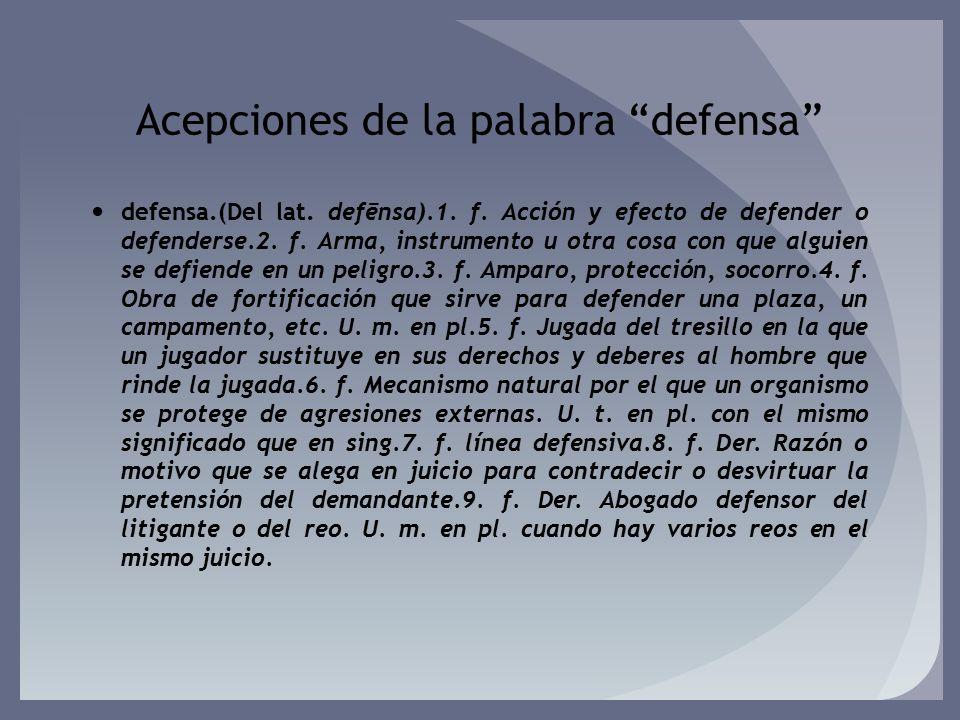 Acepciones de la palabra defensa