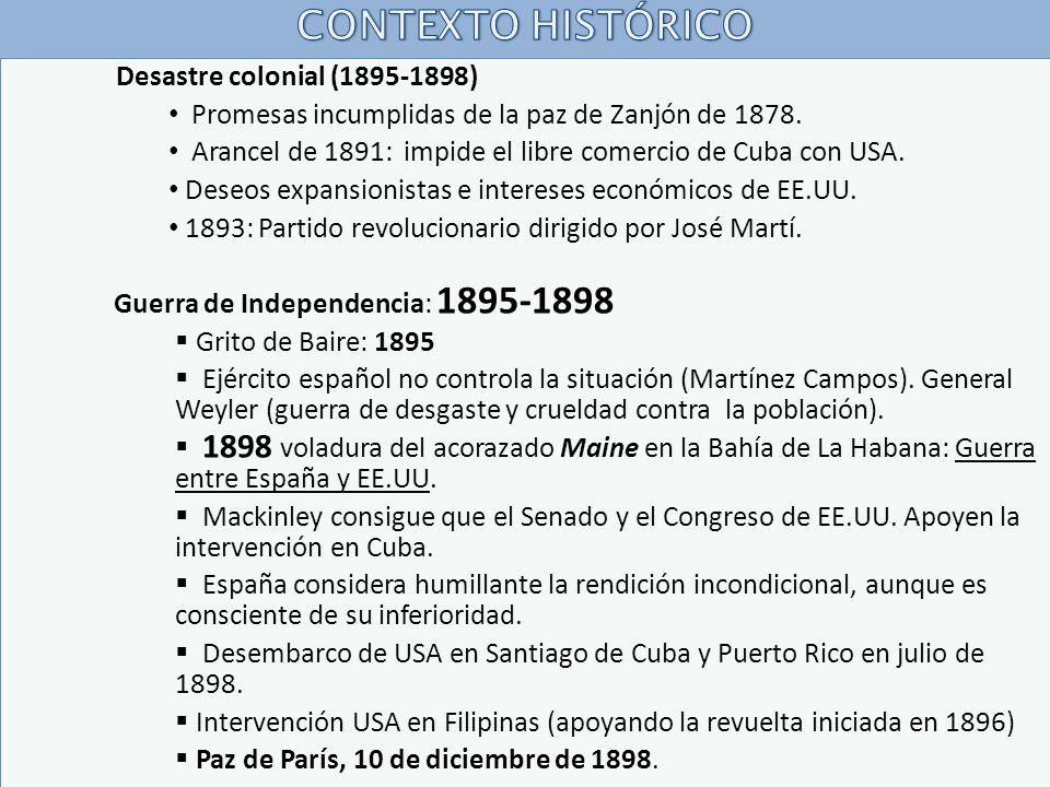 CONTEXTO HISTÓRICO Desastre colonial (1895-1898)