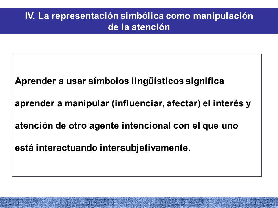 IV. La representación simbólica como manipulación de la atención