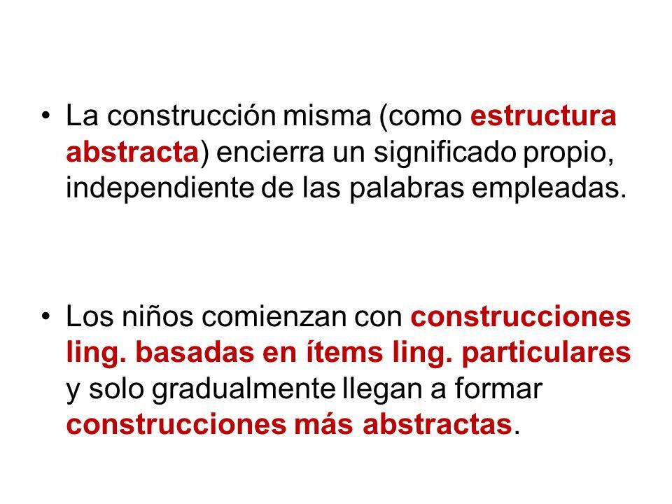 La construcción misma (como estructura abstracta) encierra un significado propio, independiente de las palabras empleadas.