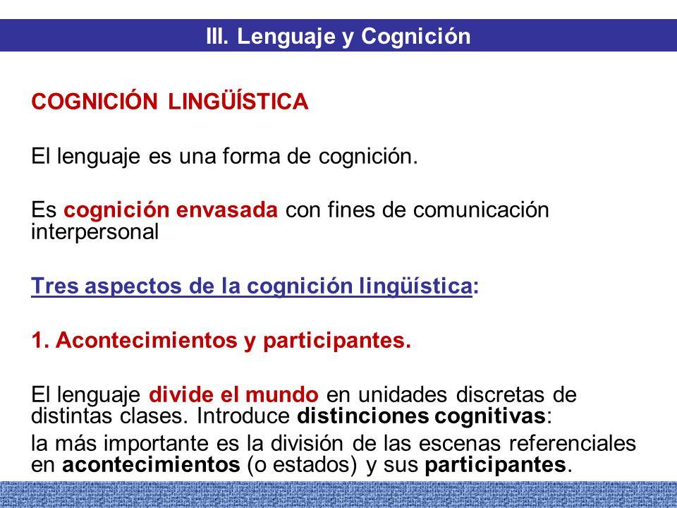 III. Lenguaje y Cognición